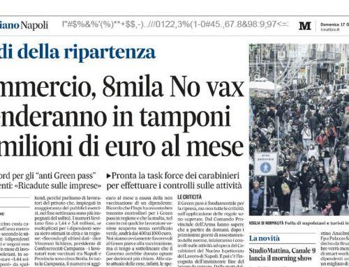 Commercio, 8mila No vax spenderanno in tamponi 1,5 milioni di euro al mese