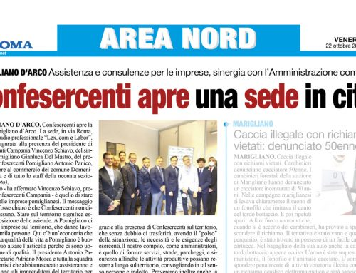 """sul quotidiano """"Roma"""" si parla dell'apertura della nuova sede Confesercenti nella città di Pomigliano."""